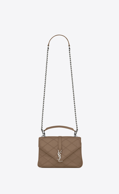 SAINT LAURENT Monogram College diamond D classic medium collège bag in Taupe Diamond Matelassé Leather a_V4