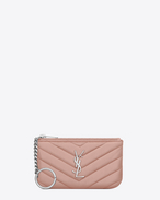 SAINT LAURENT Monogram Matelassé D monogram Key Pouch in Pale Blush Matelassé Leather f