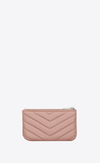 SAINT LAURENT Monogram Matelassé D monogram Key Pouch in Pale Blush Matelassé Leather b_V4