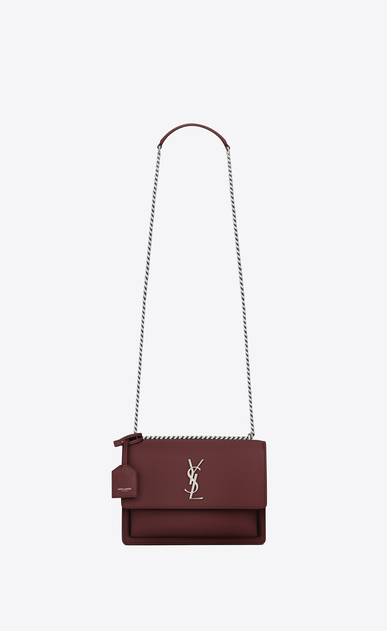 SAINT LAURENT Sunset Damen Mittlere SUNSET Tasche aus dunkelrotem Leder a_V4