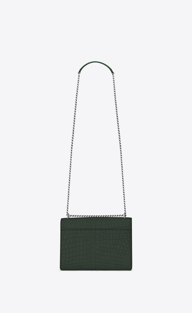SAINT LAURENT Sunset D Medium SUNSET Bag in Dark Green Crocodile Embossed Leather b_V4