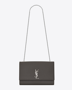 SAINT LAURENT MONOGRAM KATE D Grand satchel KATE en cuir texturé grain-de-poudre gris f