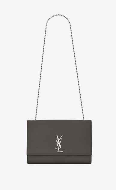 SAINT LAURENT MONOGRAM KATE Woman large kate chain bag in grey textured leather a_V4