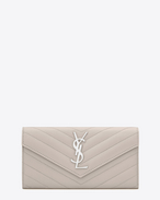 SAINT LAURENT Monogram Matelassé D Large monogram Flap Wallet in Icy White Grain de Poudre Textured Matelassé Leather f