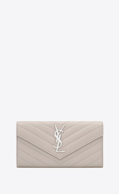 SAINT LAURENT Monogram Matelassé Woman large flap wallet in icy white textured matelassé leather a_V4