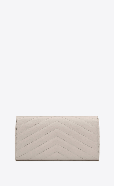 SAINT LAURENT Monogram Matelassé D Large monogram Flap Wallet in Icy White Grain de Poudre Textured Matelassé Leather b_V4