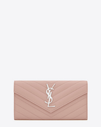 SAINT LAURENT Monogram Matelassé D Large monogram Flap Wallet in Pale Blush Grain de Poudre Textured Matelassé Leather f