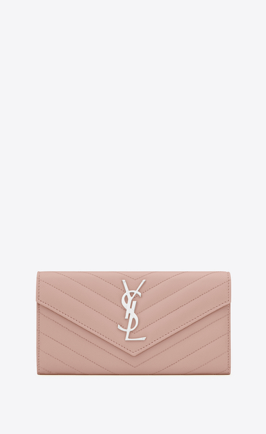 SAINT LAURENT Monogram Matelassé Woman large flap wallet in pale blush textured matelassé leather a_V4