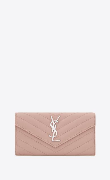 SAINT LAURENT Monogram Matelassé D Large monogram Flap Wallet in Pale Blush Grain de Poudre Textured Matelassé Leather v4