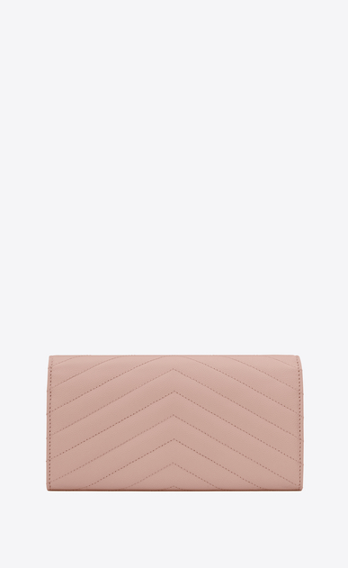 SAINT LAURENT Monogram Matelassé D Large monogram Flap Wallet in Pale Blush Grain de Poudre Textured Matelassé Leather b_V4