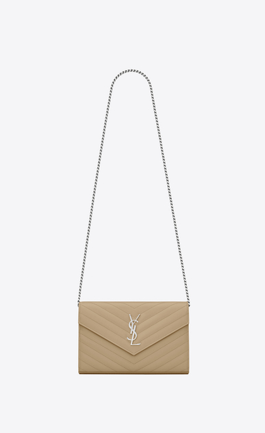 SAINT LAURENT Matelassé chain wallet D monogram Chain Wallet in Dark Beige Grain de Poudre Textured Matelassé Leather a_V4