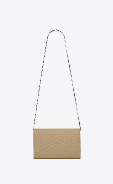 SAINT LAURENT Matelassé chain wallet D monogram Chain Wallet in Dark Beige Grain de Poudre Textured Matelassé Leather b_V4