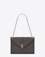 SAINT LAURENT Monogram envelope Bag D Large ENVELOPE chain Bag in Grey Grain de Poudre Textured Mixed Matelassé Leather f