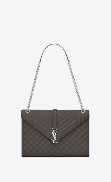 SAINT LAURENT Monogram envelope Bag D Large ENVELOPE chain Bag in Grey Grain de Poudre Textured Mixed Matelassé Leather a_V4