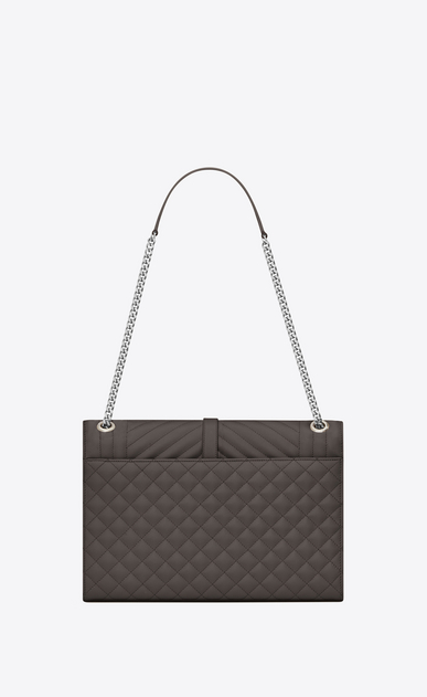 SAINT LAURENT Monogram envelope Bag D Large ENVELOPE chain Bag in Grey Grain de Poudre Textured Mixed Matelassé Leather b_V4