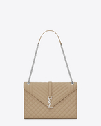SAINT LAURENT Monogram envelope Bag D Large ENVELOPE Chain Bag in Dark Beige Grain de Poudre Textured Mixed Matelassé Leather f