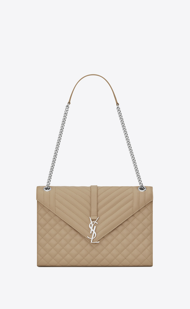 SAINT LAURENT Monogram envelope Bag Woman large envelope chain bag in dark beige textured mixed matelassé leather a_V4