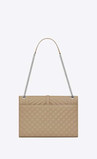 SAINT LAURENT Monogram envelope Bag D Large ENVELOPE Chain Bag in Dark Beige Grain de Poudre Textured Mixed Matelassé Leather b_V4