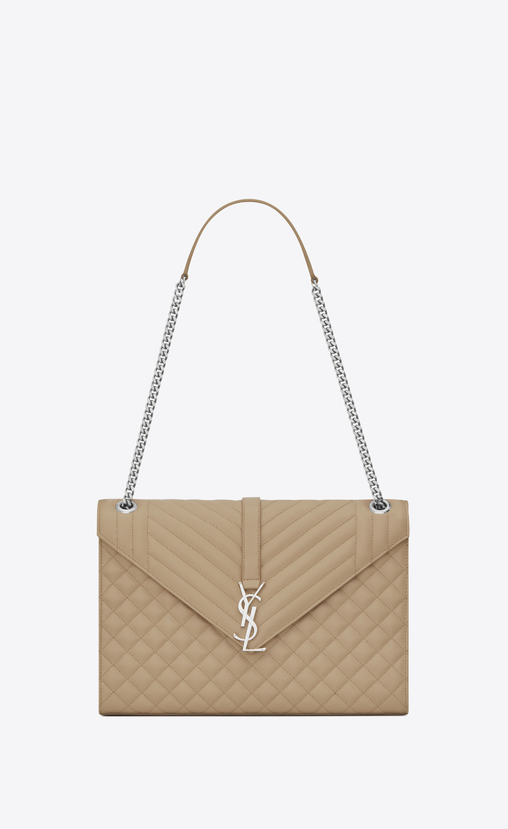 Saint Laurent Large Envelope Chain Bag In Dark Beige