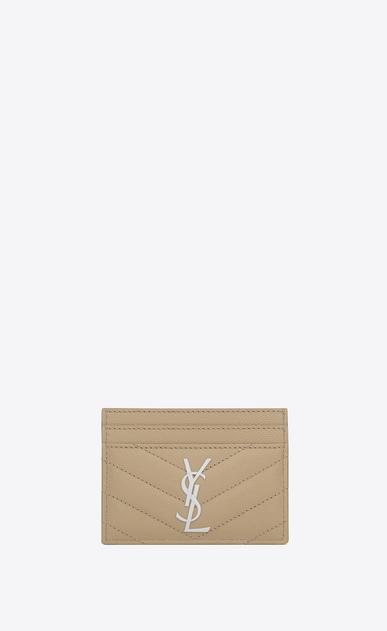 SAINT LAURENT Monogram Matelassé D Porta carte monogram in pelle matelassé grain de poudre beige scuro v4