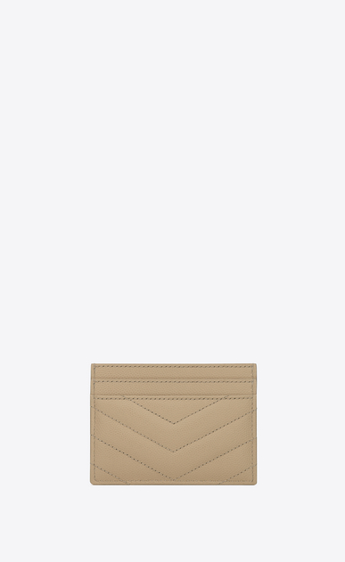 SAINT LAURENT Monogram Matelassé D monogram Credit Card Case in Dark Beige Grain de Poudre Textured Matelassé Leather b_V4