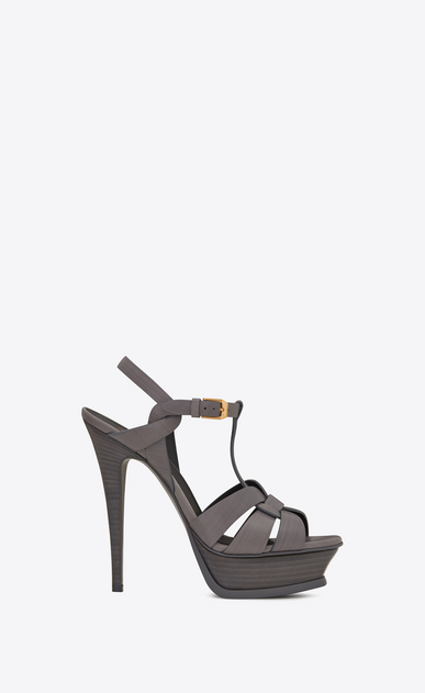 SAINT LAURENT Tribute D Classic TRIBUTE 105 Sandal in Medium Grey Painted Leather a_V4