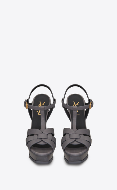 SAINT LAURENT Tribute D Classic TRIBUTE 105 Sandal in Medium Grey Painted Leather b_V4