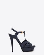 SAINT LAURENT Tribute D Classic TRIBUTE 105 Sandal in Navy Blue Leather f