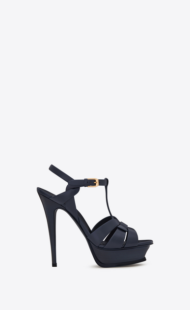 SAINT LAURENT Tribute D Classic TRIBUTE 105 Sandal in Navy Blue Leather a_V4