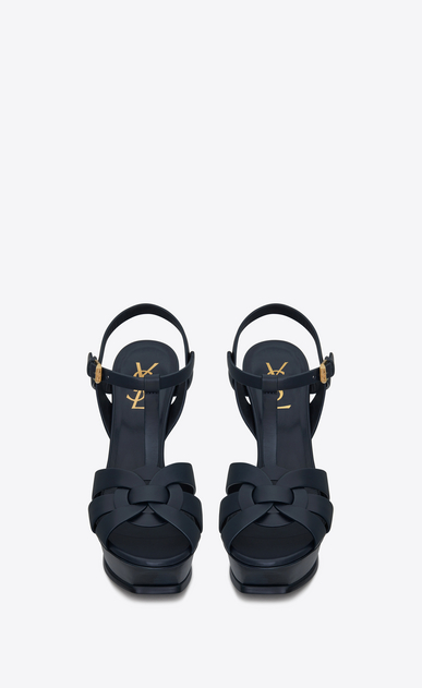 SAINT LAURENT Tribute D Classic TRIBUTE 105 Sandal in Navy Blue Leather b_V4