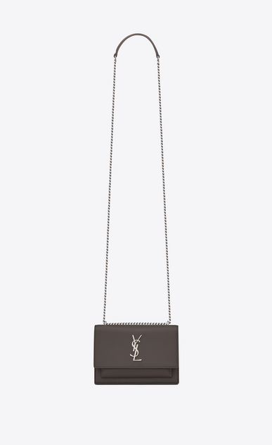 SAINT LAURENT Mini sacs Sunset Femme Portefeuille à chaîne SUNSET en cuir gris earth a_V4