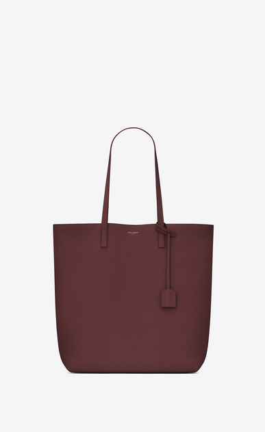 SAINT LAURENT Shopping Saint Laurent E/O D sac cabas shopping en cuir rouge foncé a_V4