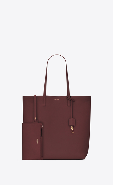 SAINT LAURENT Shopping Saint Laurent E/O D sac cabas shopping en cuir rouge foncé b_V4