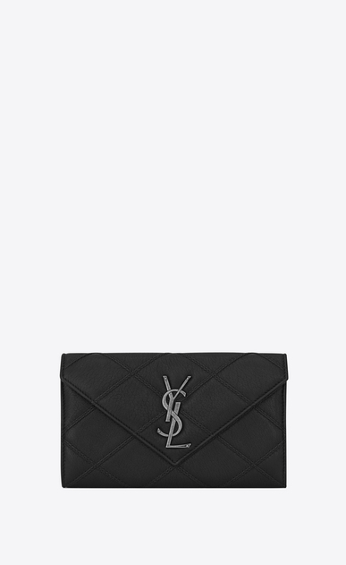 SAINT LAURENT Monogram Matelassé D Large COLLEGE Flap Wallet in Black Diamond Matelassé Leather a_V4