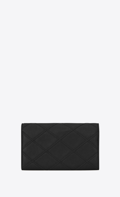 SAINT LAURENT Monogram Matelassé D Large COLLEGE Flap Wallet in Black Diamond Matelassé Leather b_V4