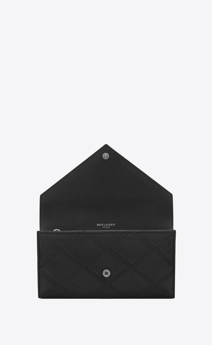 Saint Laurent Large College Flap Wallet In Black Diamond