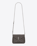 "SAINT LAURENT Monogramme Loulou D Toy LOULOU Strap Bag in Earth Grey ""Y"" Matelassé Leather f"