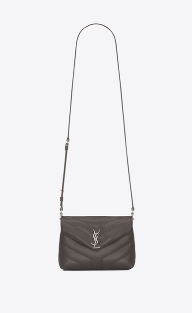"SAINT LAURENT Monogramme Loulou D Toy LOULOU Strap Bag in Earth Grey ""Y"" Matelassé Leather a_V4"