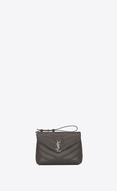 "SAINT LAURENT Mini bags Loulou Woman Toy LOULOU Strap Bag in Earth Grey ""Y"" Matelassé Leather b_V4"