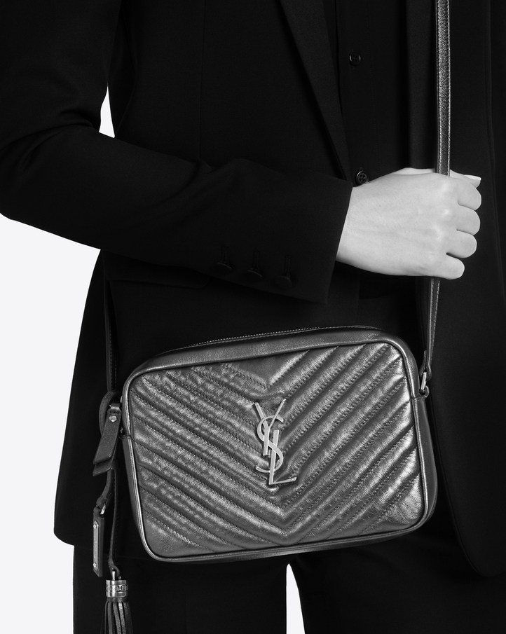 Yves Saint Laurent Small Lou Camera Bag In Anthracite Matelasse Metallic Leather At 595 Love The Brands
