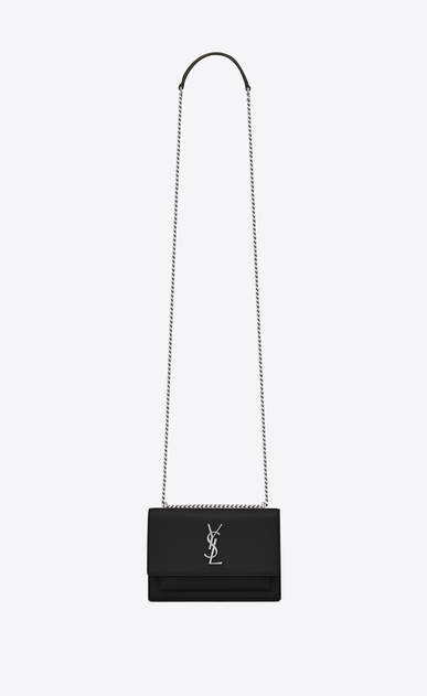 SAINT LAURENT Sunset D SUNSET Chain Wallet in Black Leather a_V4
