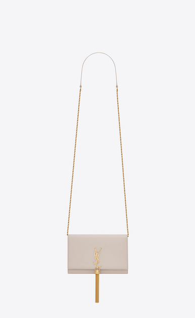 SAINT LAURENT MONOGRAM KATE WITH TASSEL D KATE Tassel Chain Wallet in Icy White Leather a_V4