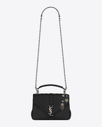 SAINT LAURENT Monogram College D Medium COLLÈGE Pin Bag in Black Matelassé Leather f