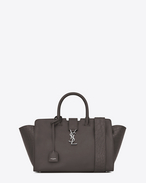 SAINT LAURENT MONOGRAMME TOTE D Small DOWNTOWN Cabas Bag in Grey Leather and Crocodile Embossed Leather f