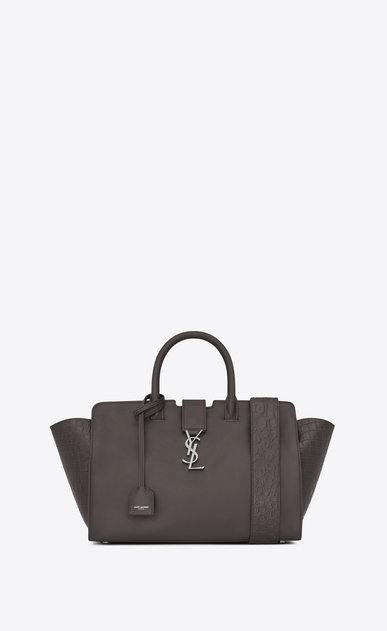 SAINT LAURENT MONOGRAMME TOTE Woman Small DOWNTOWN Cabas Bag in Grey Leather and Crocodile Embossed Leather a_V4