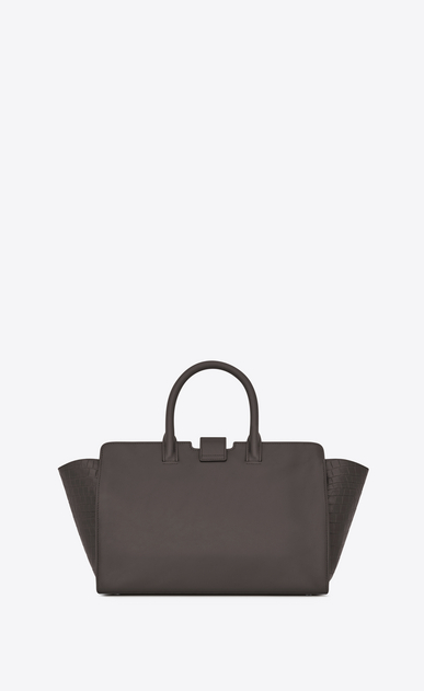 SAINT LAURENT MONOGRAMME TOTE Woman Small DOWNTOWN Cabas Bag in Grey Leather and Crocodile Embossed Leather b_V4