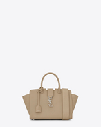 SAINT LAURENT MONOGRAMME TOTE D Baby DOWNTOWN Cabas YSL Bag in Dark Beige Leather and Crocodile Embossed Leather f