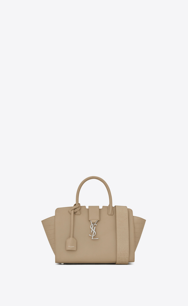 SAINT LAURENT MONOGRAMME TOTE D Baby DOWNTOWN Cabas YSL Bag in Dark Beige Leather and Crocodile Embossed Leather a_V4