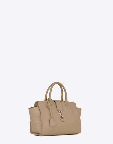 455b6a977d29 SAINT LAURENT Baby Downtown Cabas Ysl Bag In Dark Beige Leather And  Crocodile Embossed Leather .