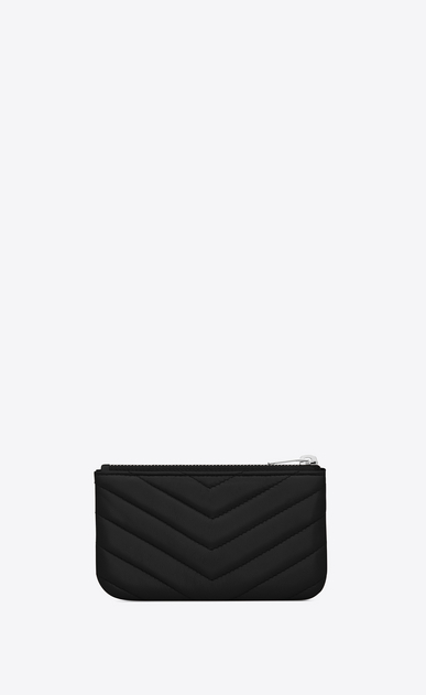 SAINT LAURENT Monogram Matelassé D monogram Key Pouch in Black Matelassé Leather b_V4